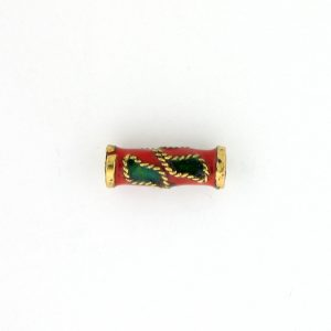 7705CW - 10x4mm Tube Cloisonne Bead - Red