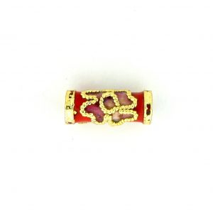 7707CW - 10x4mm Tube Cloisonne Bead - Red