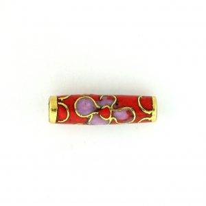 7708C - 13x4mm Tube Cloisonne Bead - Red