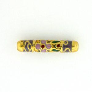 7710CG - 20x4mm Tube Cloisonne Bead - Purple