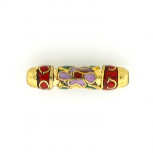 7710CG - 20x4mm Tube Cloisonne Bead - Red