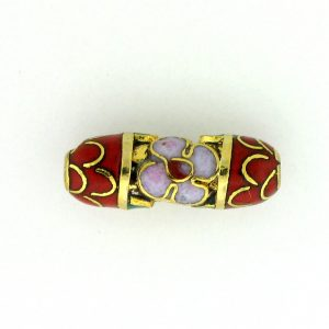 7711CG - 15x6mm Tube Cloisonne Bead - Red