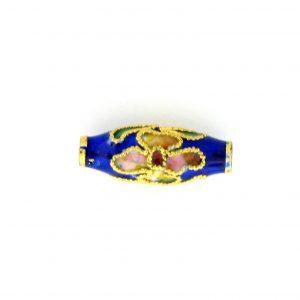 7712CG - 17x6mm Oval Cloisonne Bead - Blue