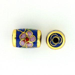 7716C - 11x7mm Tube Cloisonne Bead - Blue