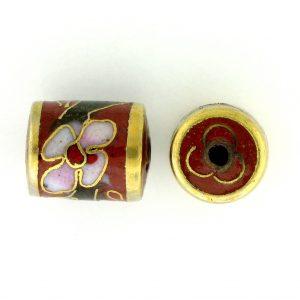7713C - 11.5x9mm Tube Cloisonne Bead - Brown