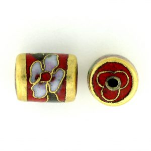 7713C - 11.5x9mm Tube Cloisonne Bead - Red