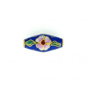 7420C - 22x10mm Oval Cloisonne Bead - Blue