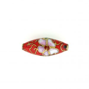 7420C - 22x10mm Oval Cloisonne Bead - Red