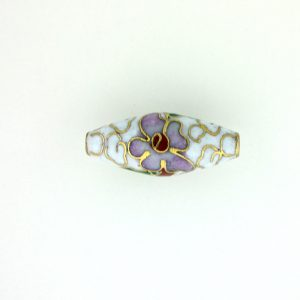 7420C - 22x10mm Oval Cloisonne Bead - White