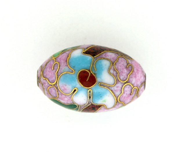 7918C - 18mm Oval Cloisonne Bead - Pink