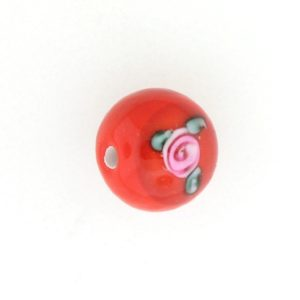 6406F - 6mm Round Floral Bead - Red