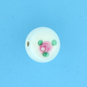 6408F - 8mm Round Floral Bead - White