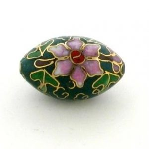 7925C - 25mm Oval Cloisonne Bead - Green