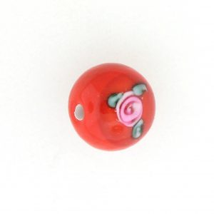 6410F - 10mm Round Floral Bead - Red
