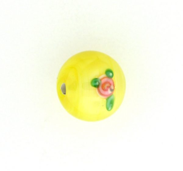 6410F - 10mm Round Floral Bead - Yellow