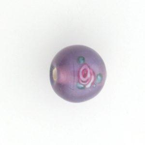 6412F - 12mm Round Floral Bead - Light Amethyst
