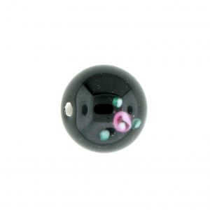 6412F - 12mm Round Floral Bead - Black