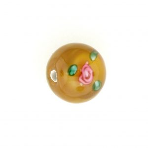 6412F - 12mm Round Floral Bead - Brown