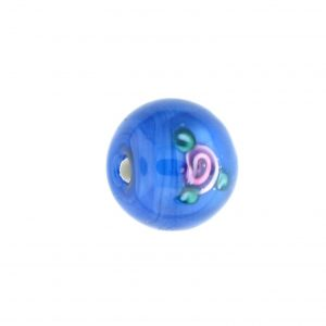 6412F - 12mm Round Floral Bead -  Sapphire