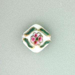 8100P - 13mm Flat Porcelain Bead - White
