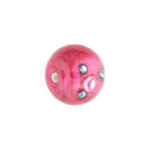 6414F - 14mm Round Floral Bead - Cranberry