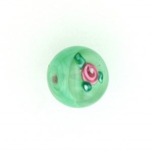 6414F - 14mm Round Floral Bead - Green