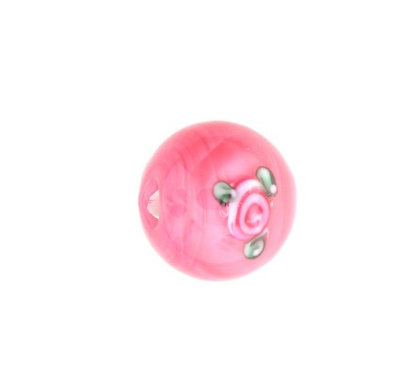6414F - 14mm Round Floral Bead - Pink