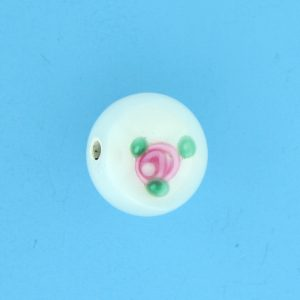 6414F - 14mm Round Floral Bead - White