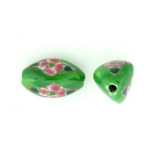 8102P - 15x9 Fancy Porcelain Bead - Green