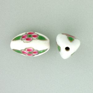 8102P - 15x9 Fancy Porcelain Bead - White