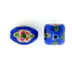 8103P - 10x15mm Fancy Porcelain Bead - Blue