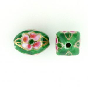 8103P - 10x15mm Fancy Porcelain Bead - Green