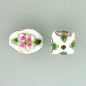 8103P - 10x15mm Fancy Porcelain Bead - White