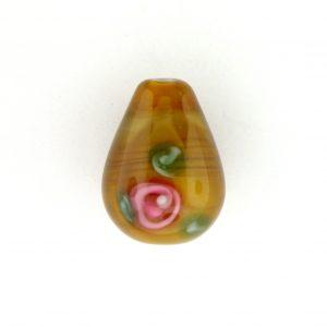 6616F - 16x10mm Floral Drop Bead - Smoky Topaz