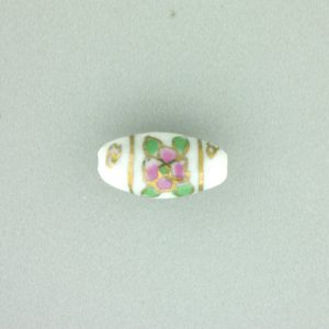 8202P - 14x8mm Oval Porcelain Bead - White