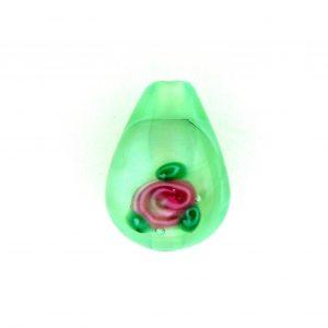 6616F - 16x10mm Floral Drop Bead - Light Green