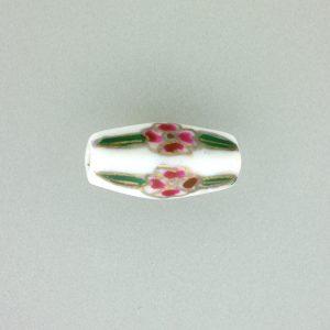 8205P - 21x9mm Tube Porcelain Bead - White