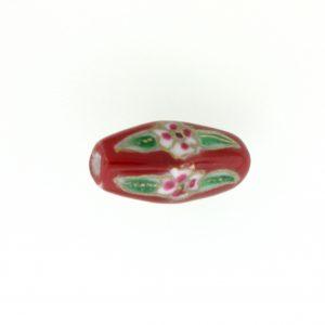 8205P - 21x9mm Tube Porcelain Bead - Red