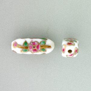 8204P - 18x7mm Tube Porcelain Bead - White