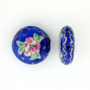 8250P - 19mm Flat Round Porcelain Bead - Blue
