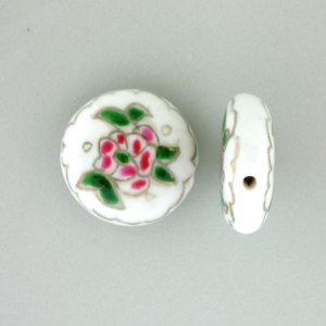 8250P - 19mm Flat Round Porcelain Bead - White