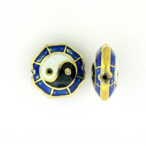 8251P - 16mm Flat Ying Yang Porcelain Bead - Blue