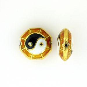 8251P - 16mm Flat Ying Yang Porcelain Bead - Brown