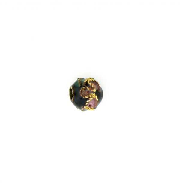 8306AW - 6mm  Round Cloisonne Bead - Black