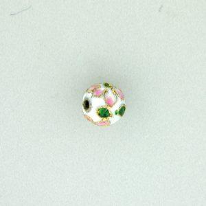 8308AW - 8mm Round Cloisonne Bead - White