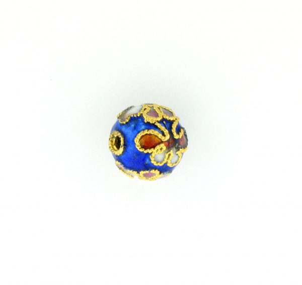 8310AW - 10mm Round Cloisonne Bead - Blue