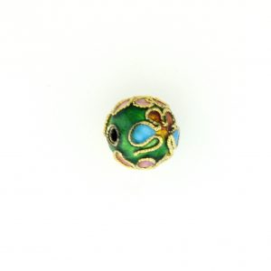 8310AW - 10mm Round Cloisonne Bead - Green