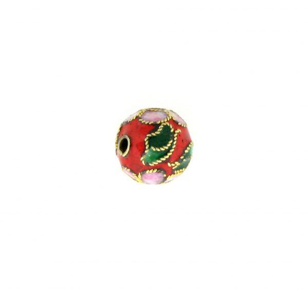 8310AW - 10mm Round Cloisonne Bead - Red