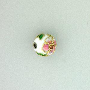 8310AW - 10mm Round Cloisonne Bead - White