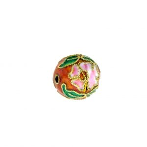 8312AW - 12mm Round Cloisonne Bead - Brown
